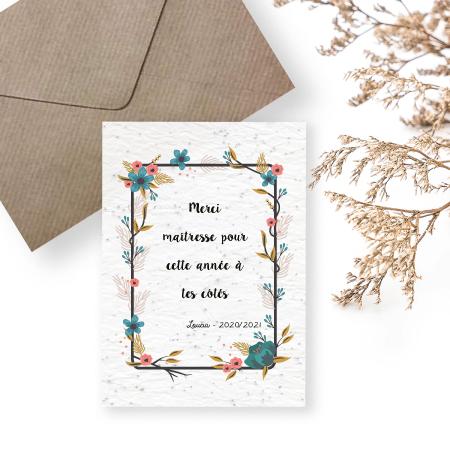 Merci maitresse - cadeau maitresse - carte à planter