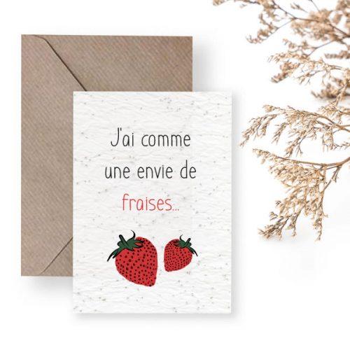 Carte à planter annonce grossesse comme une envie de fraise