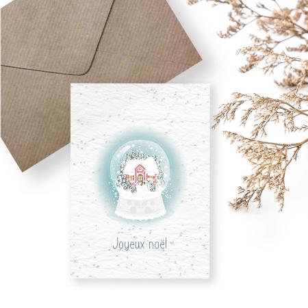 carte à planter - boule à neige - joyeux noel