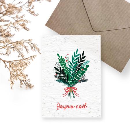 carte a planter - Joyeux Noel - bouquet de noël