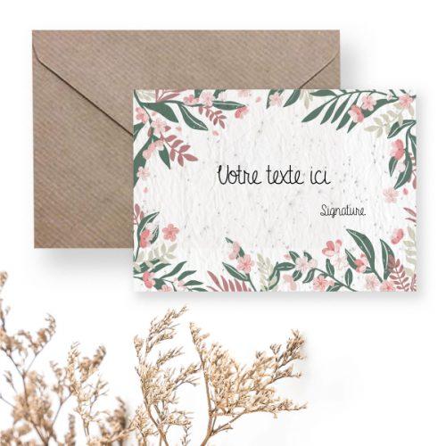 Carte à planter personnalisée - cadre floral